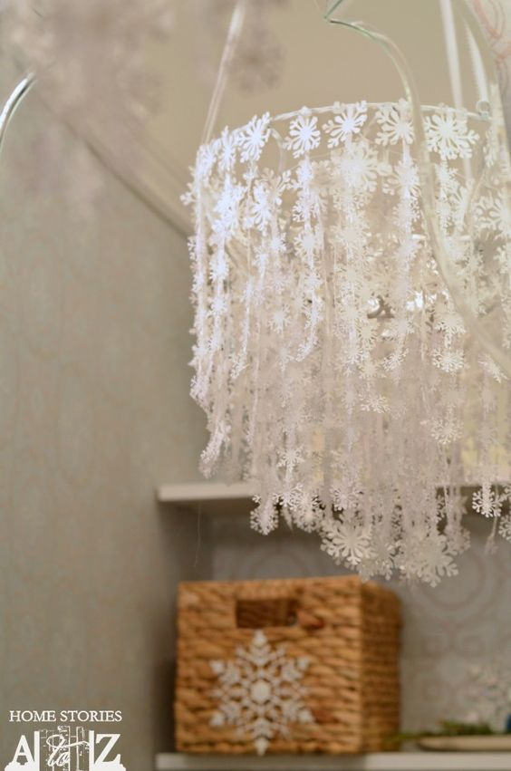 How to make a lovely paper snowflake chandelier. #easyholidayideas