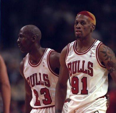 Dennis Rodman 3-11-1995 Michael Jordan Chicago Bulls Charlotte Hornets