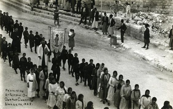 photo Karimeh Abbud - Procession at Festival of Corpus Christi, Nazareth, 1925 - Karimeh Abbud, born in 1896, ('Lady Photographer' as she used to identify herself):