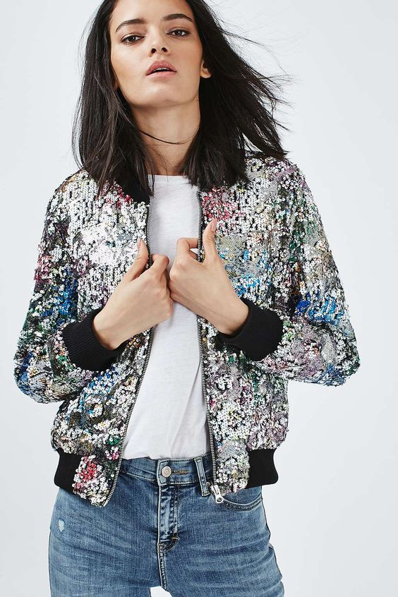 Sequin Bomber Jacket - Spring/Summer Campaign - Clothing - Topshop USA: