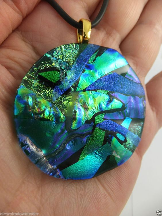 SIGNATURE SERIES GREEN - Unique Handmade Dichroic Glass Pendant + Free Cord by Cheryl Smith