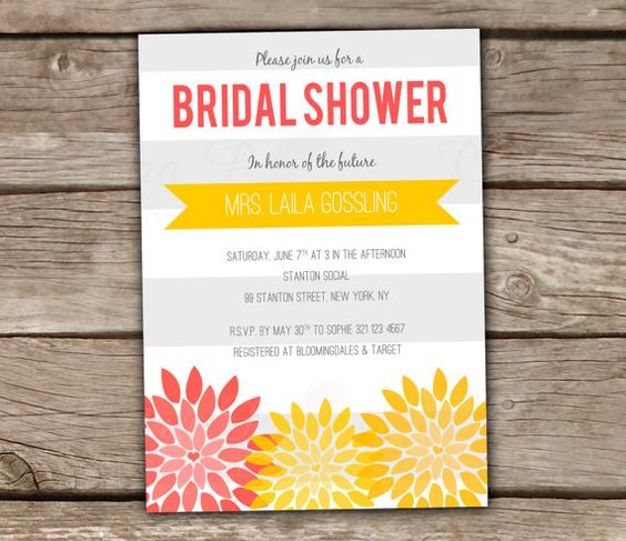 Bridal shower invitations yellow baby showers and shower for Yellow bridal shower invitations