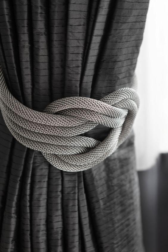 Mesh nautical knot drapery tiebacks. Grays. RICHMOND PRIVATE RESIDENCE.