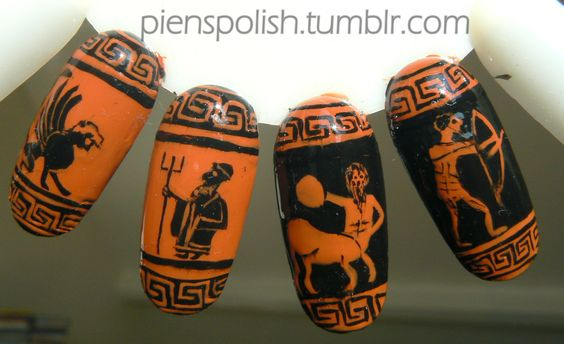 nail art inspired by ancient Greek vases