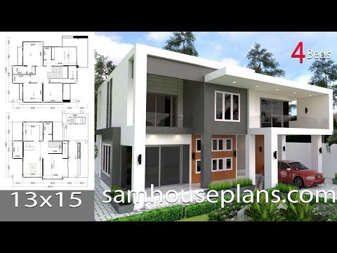 Modern 4 Bedrooms House Plan 13x13m This Villa Is Modeling By Sam Architect With 2 Stories Level It S Has 4 4 Bedroom House Plans House Plans Model House Plan