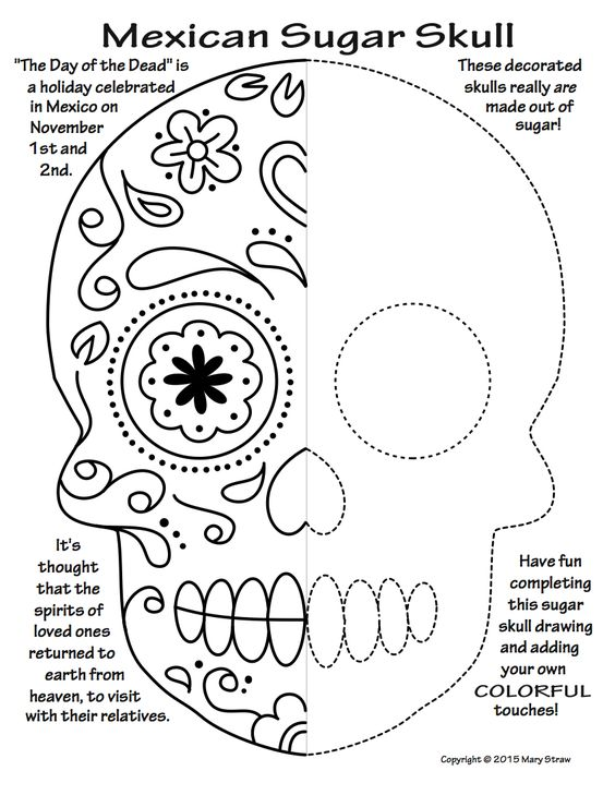 Unique classroom and symmetry art on pinterest for Day of the dead crafts for preschoolers