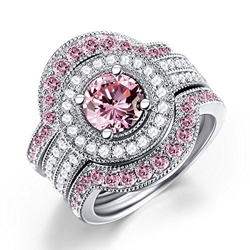 ON SALE AT http://jewelrydealsnow.com/?a=B014EL3PWU - Caperci 3 Piece Sterling Silver Round CZ & Created Pink Sapphire Bridal Engagement Wedding Ring Sets""