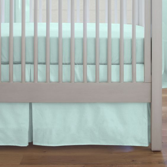 Crib Dust Ruffle in Solid Seafoam Aqua by Carousel Designs.