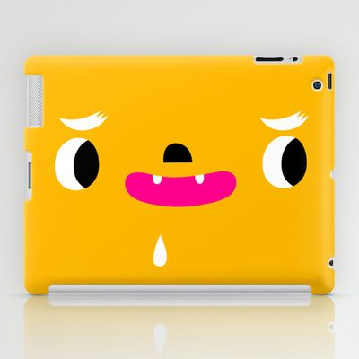 Yellow head iPad Case by simon oxley idokungfoo.com - $60.00