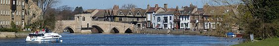 Panaramic view of St Ives quay and bridge taken from the meadow to the East of the town. St Ives is situated on the banks of the river Great Ouse, near Huntingdon, the birth place of Oliver Cromwell, in Cambridgeshire England. It has its roots in Saxon history, although it achieved fame in medieval times for its international fairs. Today it is a quiet market town with a population of approximately 16,000 and covering an area of just over 1000 hectares.