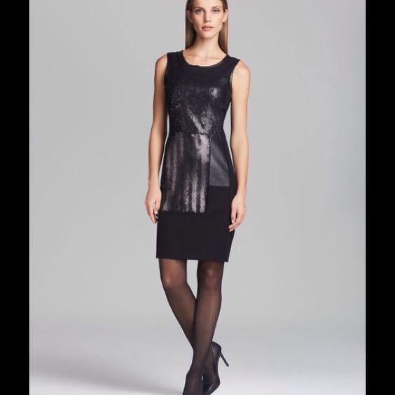 DKNYC 2X HOST PICK!7/31 & 10/22 Faux leather trim, sequined and faux leather patches on front. Gorgeous! Has been worn several times, but has been dry cleaned. DKNY Dresses