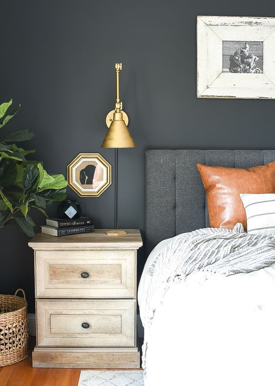 Check Out These Gorgeous Master Bedrooms With Dark Walls To Inspire You That Light Isn T Home Decor Bedroom Grey Bedroom With Pop Of Color Bedroom Wall Colors
