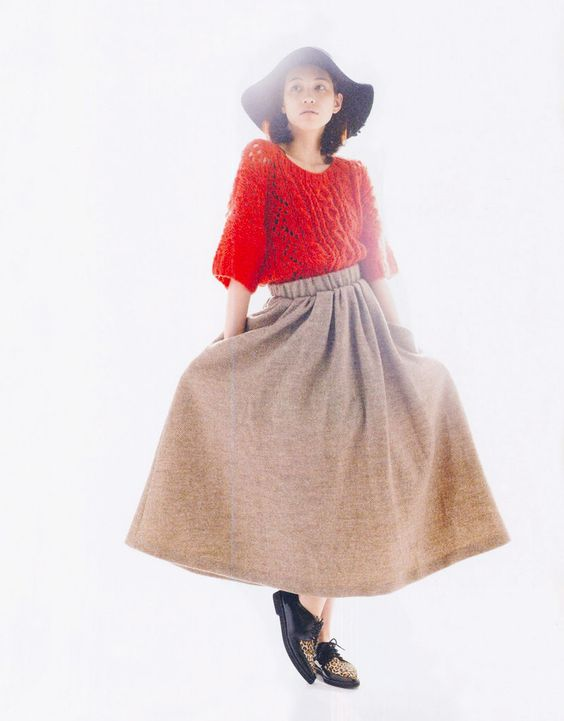 kiko mizuhara - big red knit sweater+long skirt.