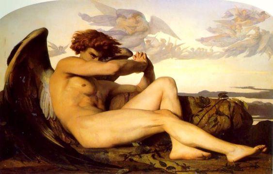 """""""堕天使"""", キャンバスに油彩 バイ Alexandre Cabanel (1823-1889, France)"""