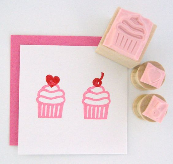MINI Cupcake with cherry and heart toppers Hand by cupcaketree, $8.00