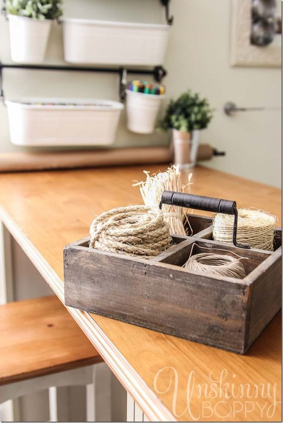 Use an old divided box to store twine in Craft Room.: