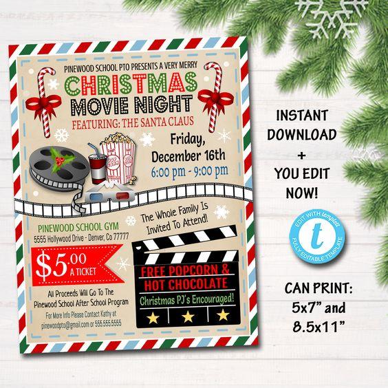 Editable Christmas Movie Night Flyer Printable Pta Pto Flyer Etsy Christmas Movie Night Movie Night Flyer Christmas Movies