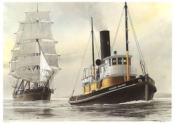 The Steam Tugboat Richard Holyoke Tows A Sailing Ship