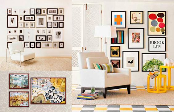 Como pendurar quadros na parede - blog de decoração: Se você tem ilustrações/fotos/molduras de tamanhos diferentes (e quer um resultado retinho), alinhe por fora, ou pela horizontal.