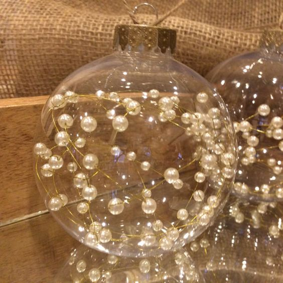 Pearl wired Christmas Ornaments, Rustic Chic Ornaments!  These clear, wired pearl filled, hemp string Christmas ornaments will be a great: