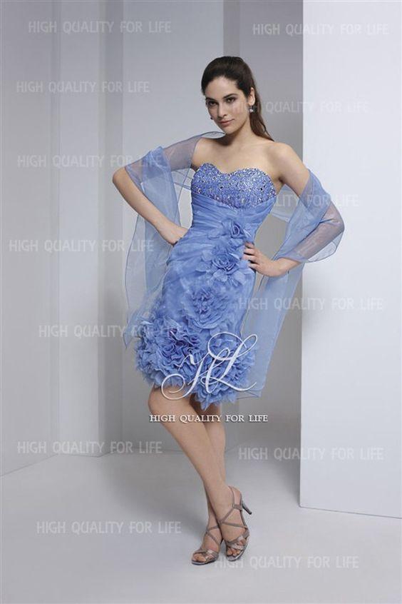 robe de cocktail 2012, fête de mariage, bleu, mousseline de soie  http://www.robesoire.fr/par-l-evenement/675-a-line-blue-sweetheart-knee-length-chiffon-evening-dress-pmp3.html#