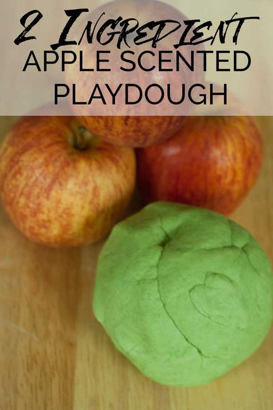 A simple 2-ingredient, super soft and smooth apple scented playdough recipe and…