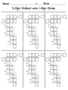 Long Division Guide Boxes Long Division Math Division Math Division Worksheets Number chart worksheets long division
