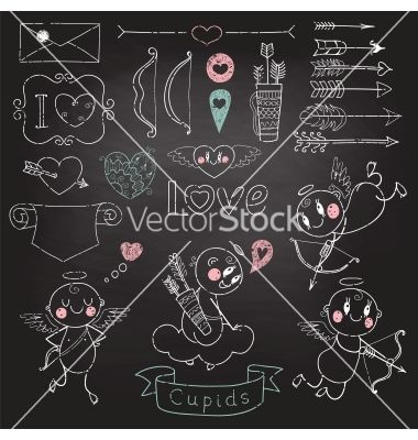 Cupids arrows hearts and other design elements vector  - by Baksiabat on VectorStock®