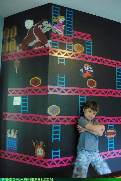 Video Game Wall Maybe Do A Zelda Or Pacman Wall Decoratingagameroomwindowseats Game Room Donkey Kong Gaming Decor