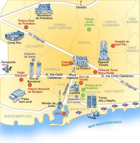 Barcelona En El Mapa.Mapa De Barcelona Que Disene Para Hotelsearch Com Hace Ya Muchos Anos Barcelona Map Mapa Turistico De Barcelona Barcelona Nombres De Hoteles