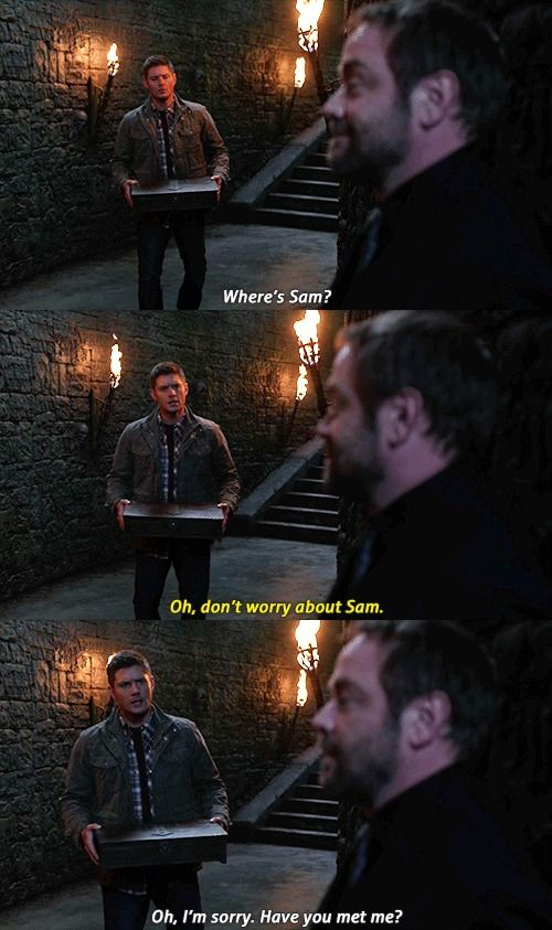 """""""Oh, I'm sorry. Have you met me?"""" Of course he worries about his little brother. That man is half his life... Come on Crowley!!! You banked on it often enough for your plans."""