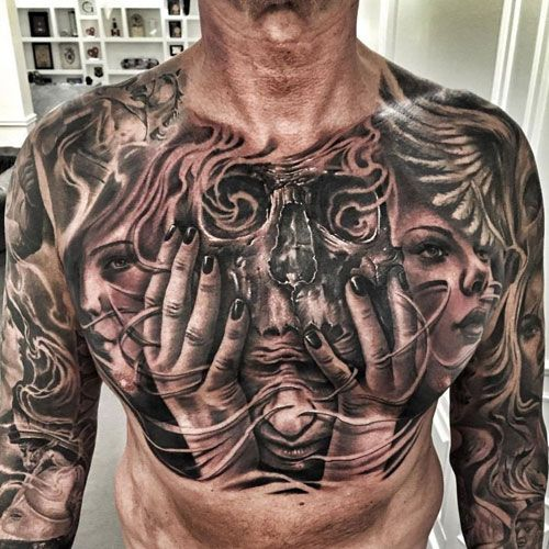 125 Best Skull Tattoos For Men Cool Designs Ideas 2020 Guide Chest Tattoo Men Skull Tattoos Chest Tattoo Drawings