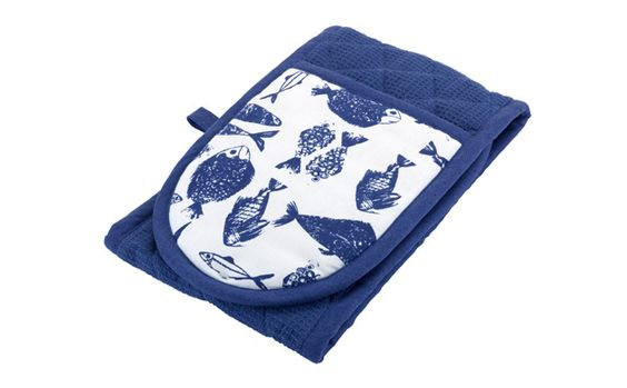 nautical blue and white oven gloves with fish print
