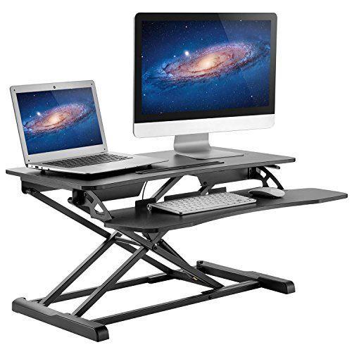 Adjustable Standing Desk Gas Spring Sit To Stand Desk Converter Monitor Riser With Keyboard T Best Standing Desk Adjustable Standing Desk Desktop Standing Desk