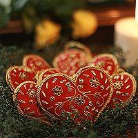 Beaded Ornaments Red Velvet Heart Set Of 5 Embroidered Christmas Ornaments Christmas Ornaments Wooden Christmas Ornaments