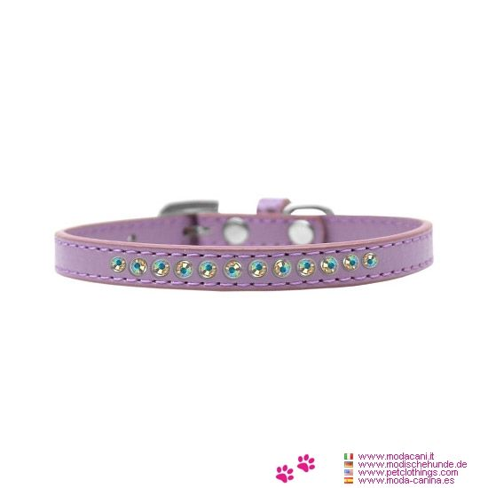 Kunstleder Lilac Halsband für Kleine Hunde mit Strass - Neues Modell der Halsband für kleine Hunde, in Lilac, aus Kunstleder und mit Strasssteinen verziert; Größen für Chihuahua, Pudel, Malteser, ...