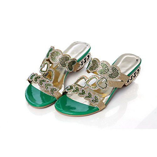 Balamasa Womens Open Toe Pull On Assorted Colors Green Low-Heels Sandals - 8.5 B(M) US * Check out this great product.