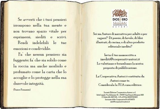 Pubblica con noi. Partecipa allo scopo e alla vita della Cooperativa Autori - Diòspero Edizioni