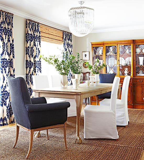 Ikat. I love blue and white. It's classic, clean, yet warm and inviting if mixed with the right textures.: