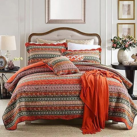 Newlake Striped Classical Cotton 3 Piece Patchwork Bedspread Quilt