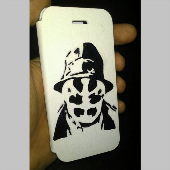 Custom Rorschach iPhone 5 flip cover.... www.sankiking.com ... #SankiKing #HandMade #Rorschach #Watchmen #CustomMade #CustomPainted #Karachi #Pakistan