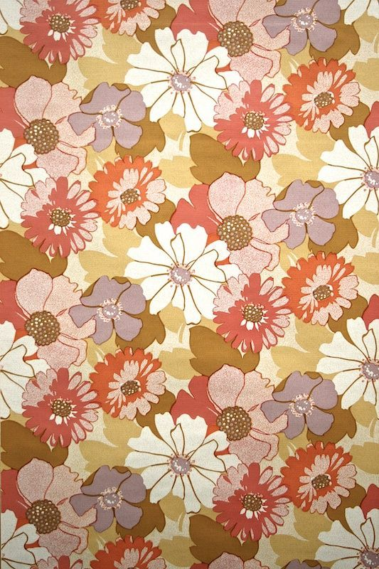 red floral retro wallpaper wallpapers pinterest