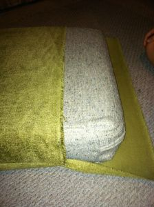 diy couch cushion cover....lets go fabric shopping! Something like a chocolate brown to go with the curtains... maybe