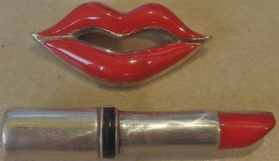 vintage 2 STERLING ENAMEL PINS big LIPSTICK & LIPS