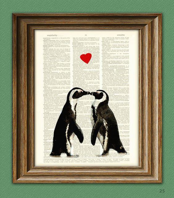 Penguin Art Print Romantic PENGUIN COUPLE in love by collageOrama, $6.99