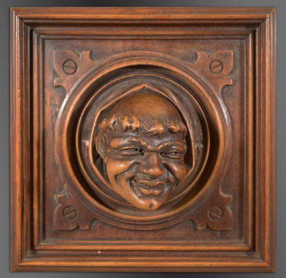 "Charismatic Monk Architectural Sculpture  7 7/8"" square x 3 1/8"" deep  Victor Aimone"