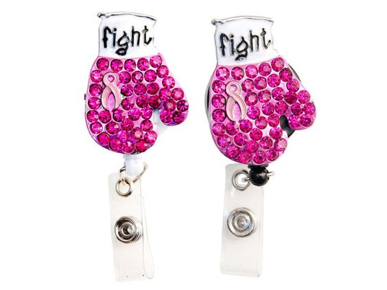 New Custom Bling Pink Rhinestone Breast Cancer Awareness Ribbon Boxing Glove ID Badge Pull Reel Retractable ID Badge Holder on Etsy, $8.99
