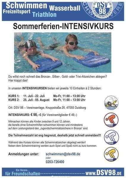 Schwimm-Intensivkurs für Kinder beim DSV98, Duisburg