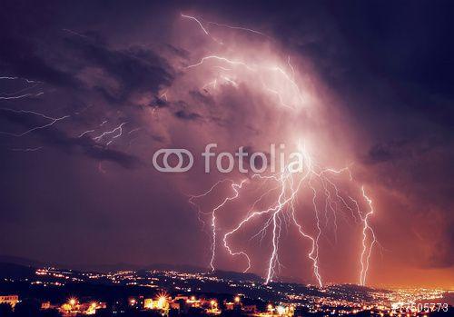 """Laden Sie das lizenzfreie Foto """"Beautiful lightning at night"""" von Anna Omelchenko zum günstigen Preis auf Fotolia.com herunter. Stöbern Sie in unserer Bilddatenbank und finden Sie schnell das perfekte Stockfoto für Ihr Marketing-Projekt!"""