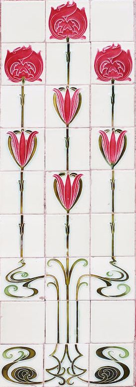 Secessionist style twenty-seven tile mural, moulded and glazed Art Nouveau stylised tulips and poppies.
